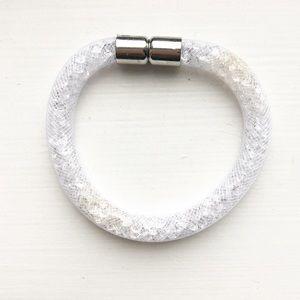 Clear / white mesh rope & rhinestone bracelet